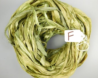 Silk Sari Ribbon, Sari silk ribbon, recycled ribbon, Celery green sari ribbon, knitting supply, weaving supply, crochet supply, ribbon yarn