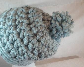 Slouchy WomansTeal Beanie Crochet Hat Chuncky Beanie Hat Pom Pom Beanie