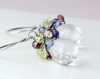Glass And Multi Gemstone Earrings  Oxidized Silver Multi Colored  Gemstone  Jewelry Handmade Wire Jewelry Multi Color