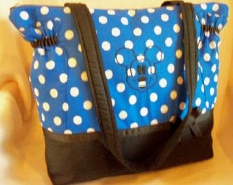 Mickey Mouse Disney fabric Xlg 10 pockets too cute diaper bag or just roomy bag for any age add name to personalize
