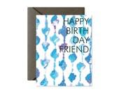 HAPPY BIRTHDAY FRIEND Aqua Knots Greeting Card - Single Card