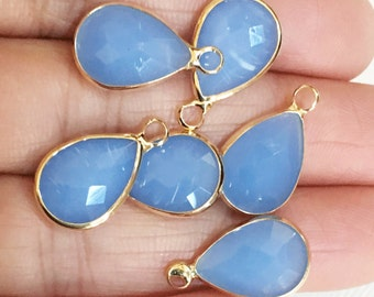 4 glass faceted teardrop pendant with Gold frame, Blue glass drops 18x11mm, framed glass teardrops