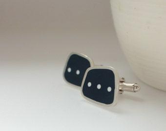 Inky Blue Cufflinks - Square Silver Cuff-links - Dark Blue - Navy Blue - Resin Cufflink - Gift for Him - Dot Dot Dot