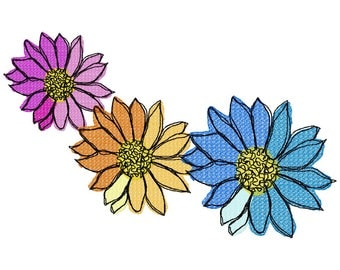 Open Flower Trio Machine Embroidery Design by Letzrock  3111