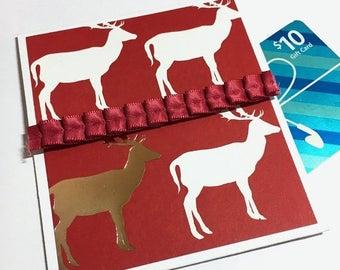 Reindeer Holiday Gift Card Holder - Christmas Gift Card Envelope, Holiday Tip Envelope, Money Card, Christmas Bonus Envelope,