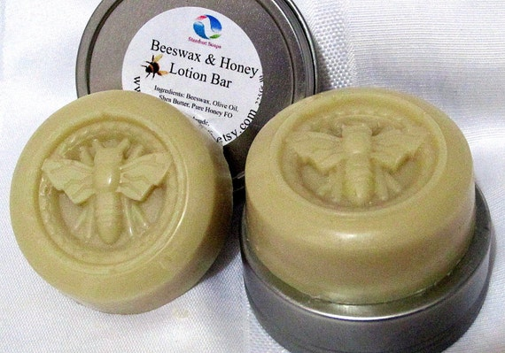 Beeswax and Honey Lotion Bar (handmade, large bar, moisturizing, waterless, gift idea, labeled, 1 tin, 1 bar each) Stardust Soaps