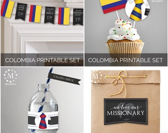 INSTANT DOWNLOAD - COLOMBIA -  Missionary Farewell Welcome Home Decoration Printable Set for Elders