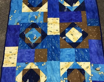 """Galaxy quilt, baby blankie, play mat, handmade, 38""""by50"""""""