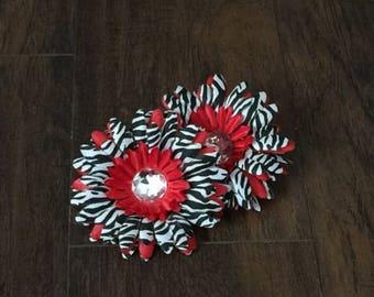75% OFF- Red Zebra Gerbera Daisy Flower Head Only w/ Jeweled Center