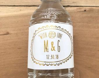 Gold Foil Waterproof Water Bottle Labels - Silver Foil Metallic Labels - Wedding Water Bottles - Party Drink Stickers - Oval Frame Initials