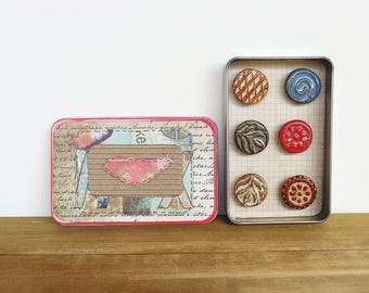 Rustic Clay Fridge Magnet Set of 6 - Ceramic Magnet Set
