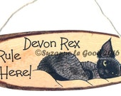 Original DEVON REX CAT hanging sign by Suzanne Le Good