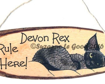 Original DEVON REX CAT hanging sign by Suzanne Le Good