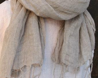 Natural Linen Gauze Scarf