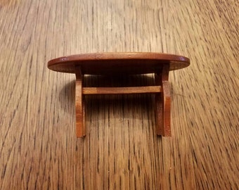Miniature Doll House Oval Wooden Table