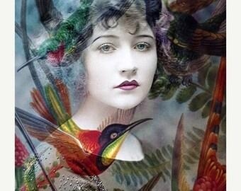 ON SALE 35% Valentine Sale, Fine Art Print, Giclee Archival Print, Woman Portrait, Portrait, Photomontage, Collage, Humming Birds