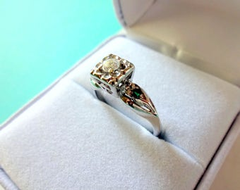 14kt White Gold Mid Century Diamond and Emerald Engagement Ring
