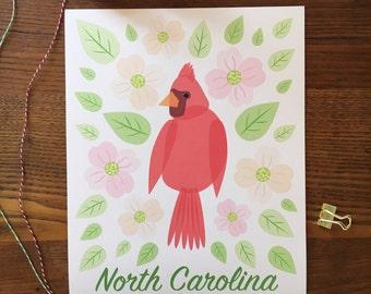Cardinal Art. North Carolina Art. Dogwood Flowers. Dogwood Flower Art. State Themed Art. Home Decor. State Pride. NC Art. Bird Art Print