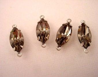 4 Vintage Glass Black Diamond Navette Connector Charms 15x7 silver set Swarovski