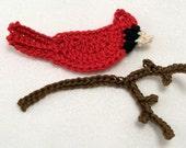 Crochet Cardinal and Branch