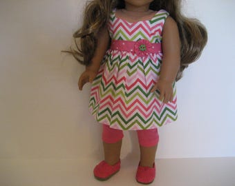 18 Inch Doll Clothes - Lime and Pink Chevron Top Outfit made to fit dolls such as American Girl and Maplelea doll clothes