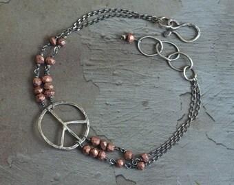 Sterling Silver Pyrite Bracelet - Peace Sign Bracelet - Rustic Boho Bracelet - Oxidized Sterling Silver Bracelet - Copper Pyrite Bracelet