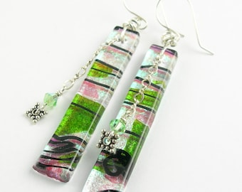 Sterling Silver Dichroic Metallic Iridescent Fused Glass Long Dangle Statement French Hook Earrings in Silver Pink Teal Lime