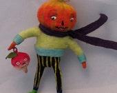 Spun cotton Halloween jack o lantern feather tree decoration by maria paula