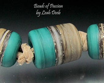 Handmade BHB Glass Beads of Passion Leah Deeb - 3pc Teal Earthy Clay 2 Tone Big Hole