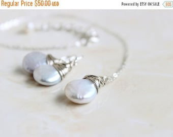 Black Friday Sale Coin Pearl Earrings and Necklace Set Sterling Silver Wire Wrapped GE5