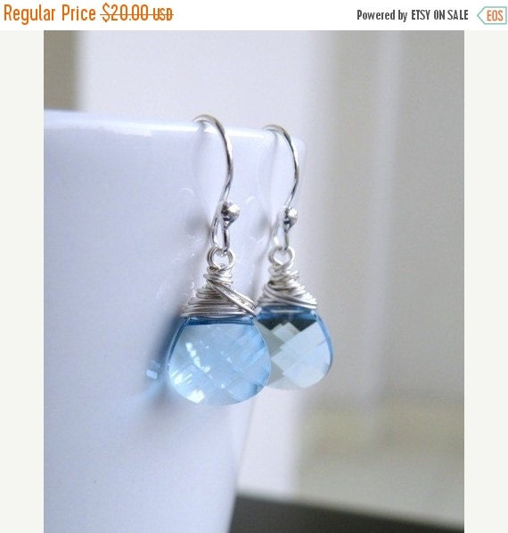 Valentines Day Sale Swarovski Crystal Earrings Faceted Pale Blue Briolette Sterling BE12