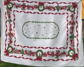Vintage Red and White Christmas Print Tablecloth