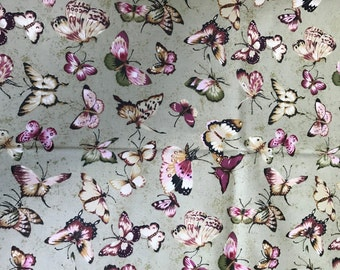 1 Yard of Butterfly Print Cotton Fabric by Northcott