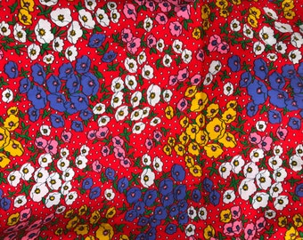 3 Yards of Vintage Red with Yellow, Pink White & Purple Floral Print Cotton Fabric