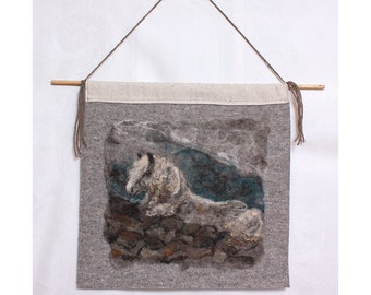 Wet Felted Painting of a Horse