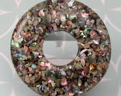 Resin, Abalone Inlay, Large Donut Pendant, 58 MM, A17