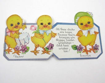 Vintage Easter Greeting Card with Cute Chicks Playing Drum Flowers Bonnets