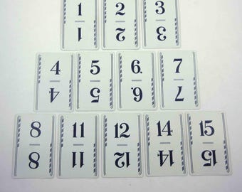 Vintage 1930s Playing Cards with Numbers from Flinch Game by Parker Brothers Set of 12