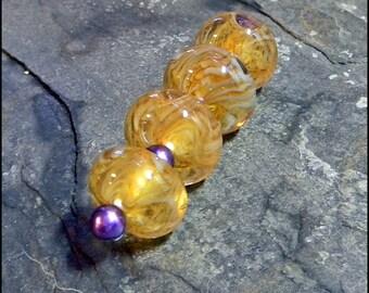 Hannah Rosner Lampwork Bead Set 4 Sunrise Boro Bracelet Beads