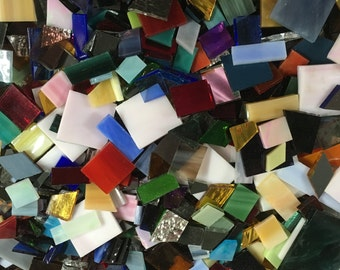 3 Pounds of Spectrum Stained Glass Mosaic Tile in Odd Sizes Shapes and Colors Including Squares, Rectangles, Diamonds Perfect for Mosaic Art