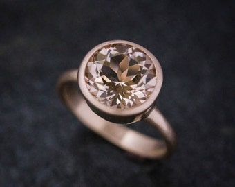 Morganite Rose Gold Gemstone Ring, 14k Rose Gold Solitaire Handmade Engagement Ring, Eco Friendly