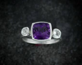 Cushion Cut Amethyst White Sapphire and Silver Ring, Purple Amethyst Three Stone Ring February Birthstone Alternative Engagement