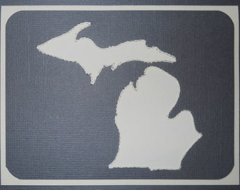 State of Michigan Hand-Stitched Note Cards - Pack of FIve