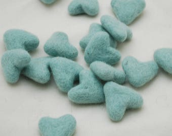 3cm 100% Wool Felt Hearts - 10 Count - Mint Blue