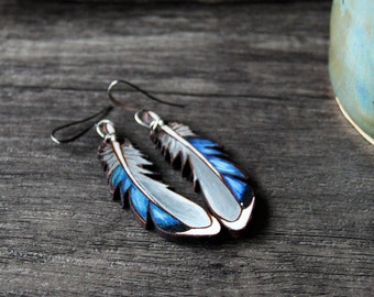 Beautiful mallard duck leather feather collection - gypsy earrings - by Fanny Dallaire -  leather work
