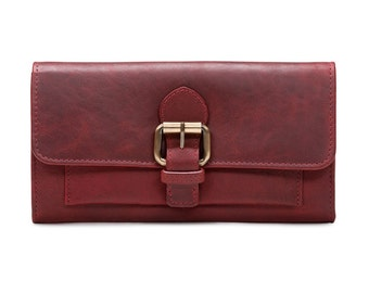 Ladies Leather Buckle Wallet, Red