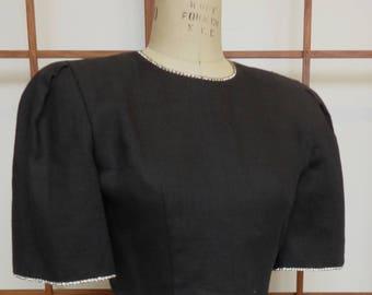 Vintage 80's LBD I.Magnin - Black Linen/Rhinestone Trim -Sz 4
