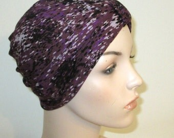 Purple Gray Black  Stretch Turban, Chemo Hat, Cancer Turban, Womens Hat Black White