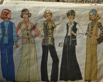 Vintage 70s Sewing Pattern Simplicity 7226 Women's Pants Skirt and Vest