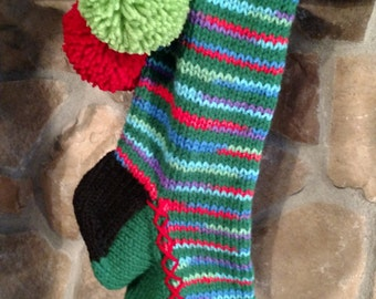Old Fashioned Hand Knit Heartfelt Christmas Stocking Paddy Green Cherry Red Lime Green Snowflake detail